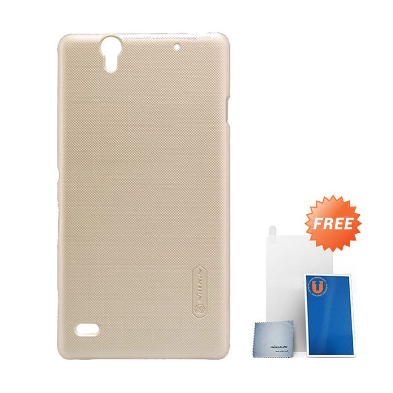 Nillkin Frosted Gold Hard Case Casing for Sony Xperia C4 + Screen Protector