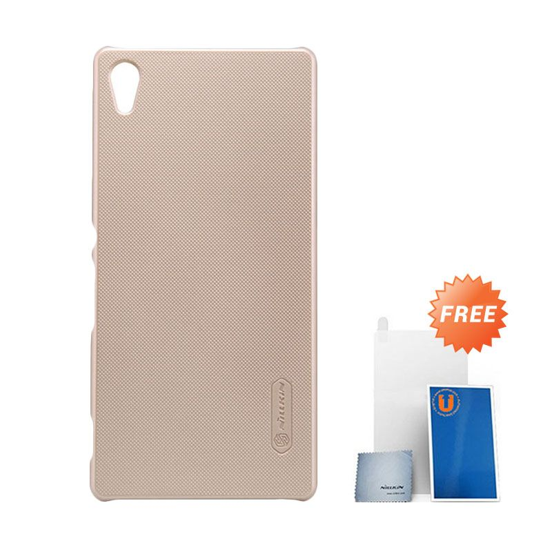 Nillkin Frosted Gold Hard Case Casing for Sony Xperia Z3+ or Z4 + Screen Protector
