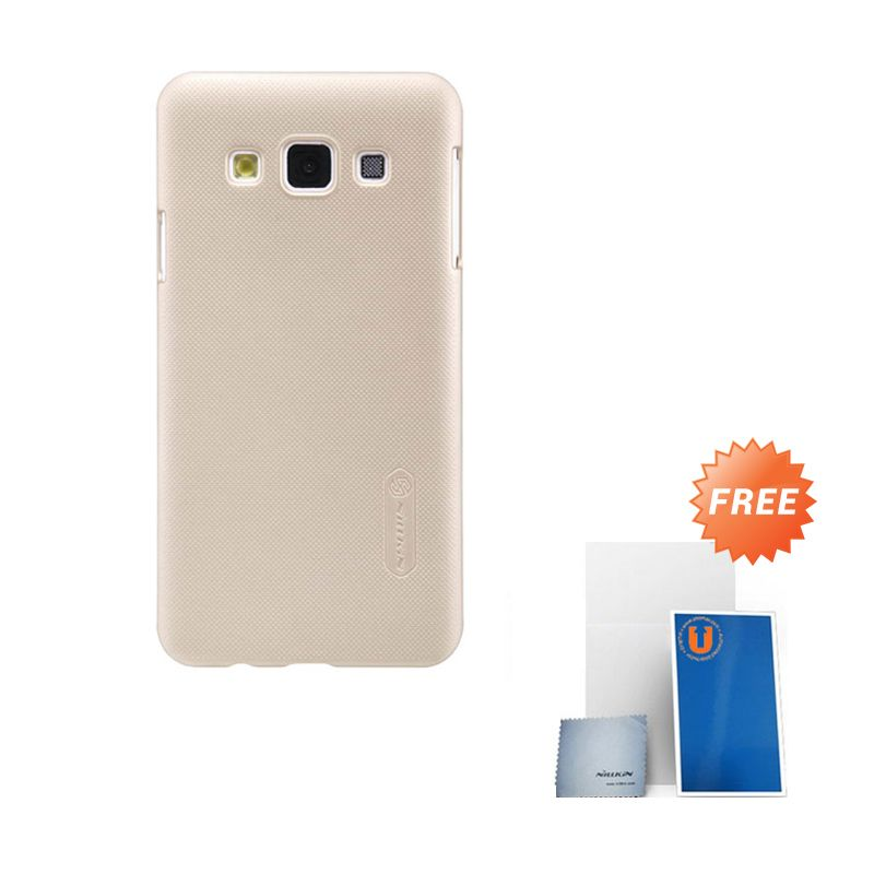 Nillkin Frosted Gold Hard Case Casing for Samsung Galaxy A3 + Screen Protector + Cleaning Cloth