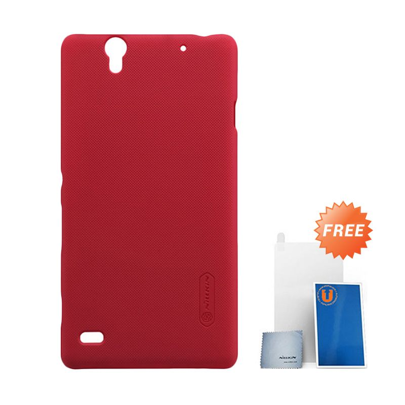 Nillkin Frosted Red Hard Case Casing for Sony Xperia C4 + Screen Protector