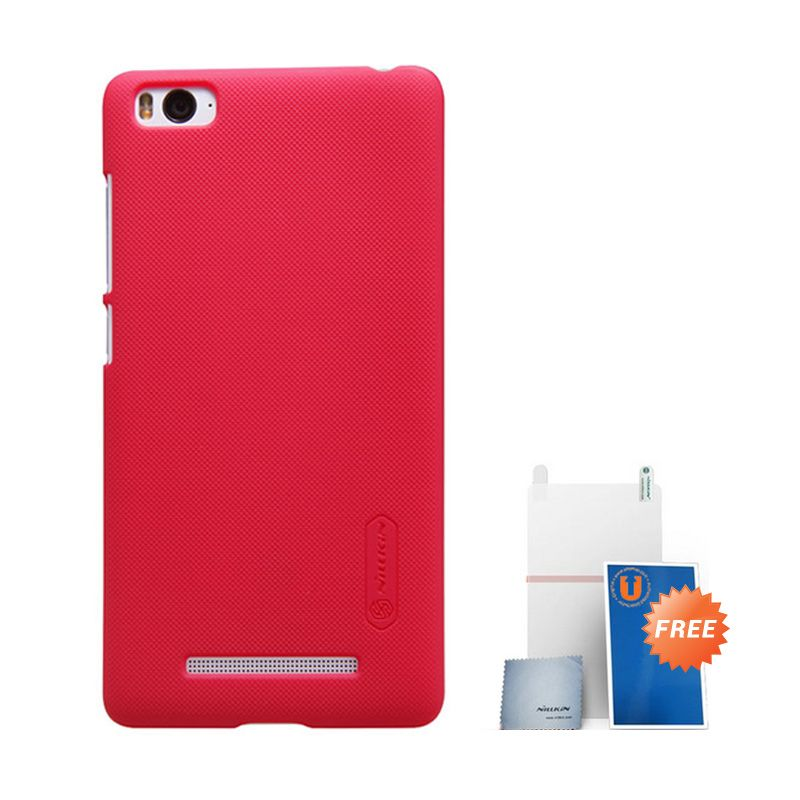 Nillkin Frosted Hard Case Red Casing for Xiaomi Mi4i + Screen Protector + Micro Fiber Cloth