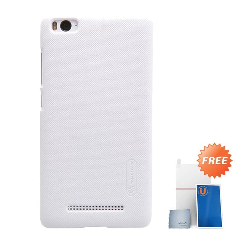 Nillkin Frosted Hard Case White Casing for Xiaomi Mi4i + Screen Protector + Micro Fiber Cloth