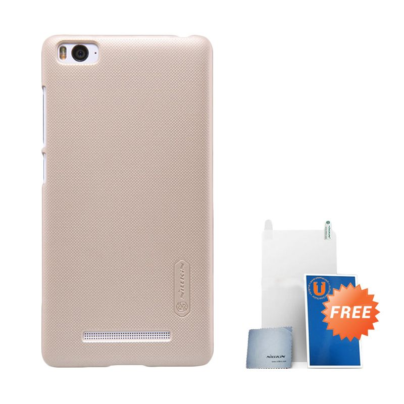 Nillkin Frosted Gold Hard Case Casing for Xiaomi Mi4i + Screen Protector + Pembersih Layar