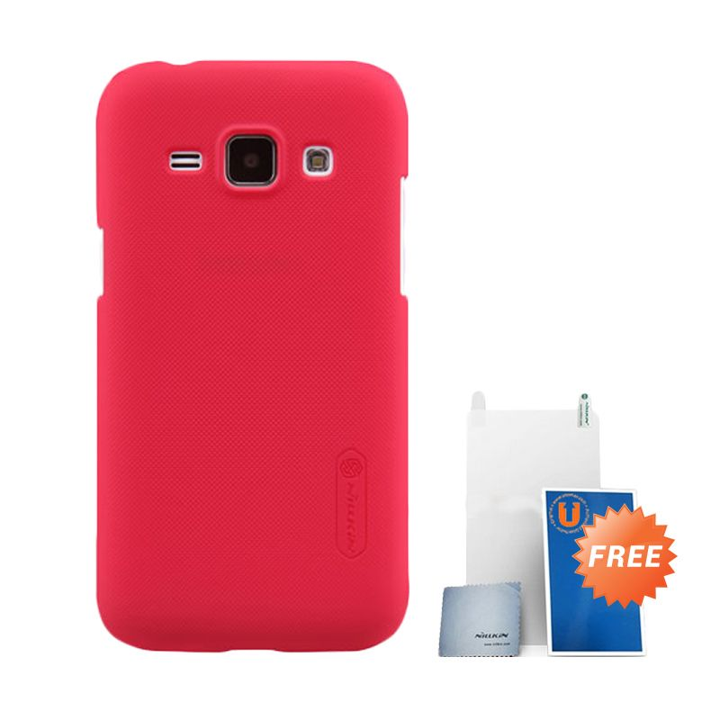Nillkin Frosted Red Hard Case Casing for Samsung Galaxy J1 + Screen Protector + Pembersih Layar