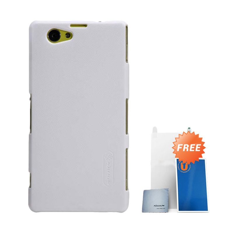 Nillkin Frosted White Hard Case Casing for Sony Xperia Z1 Compact + Screen Protector + Pembersih Layar