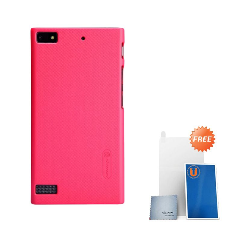 Nillkin Frosted Red Hard Case Casing for BlackBerry Z3 + Screen Protector
