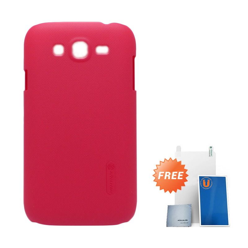 Nillkin Frosted Red Casing for Galaxy Grand Duos + Screen Protector + Pembersih Layar