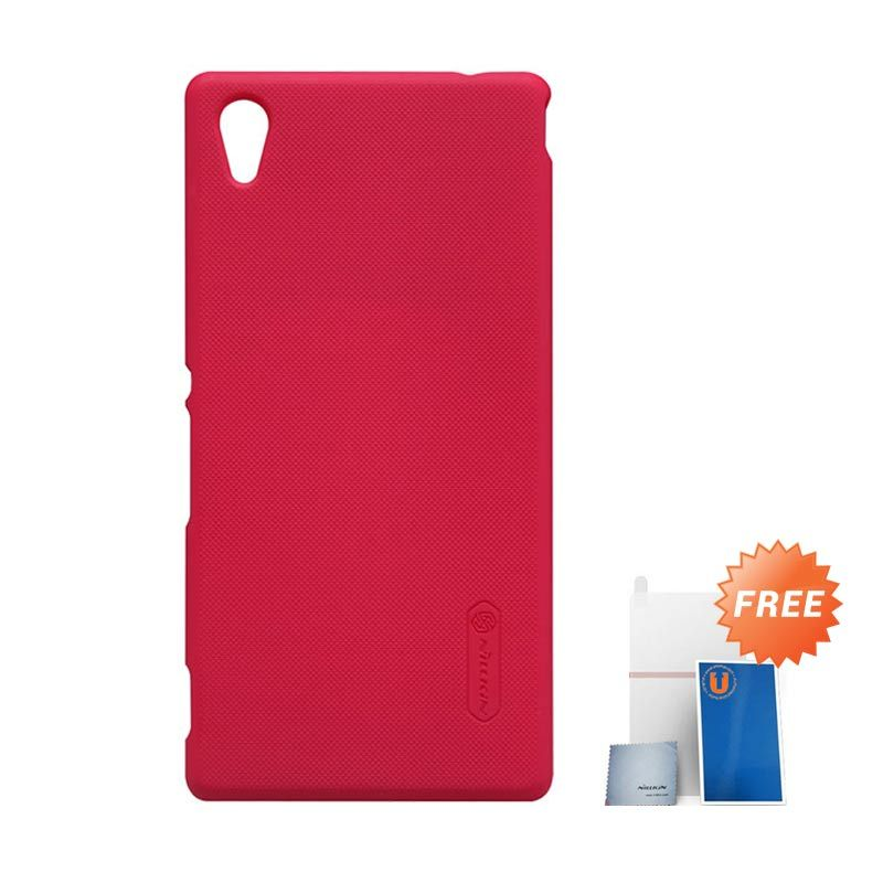 Nillkin Frosted Red Casing for Sony Xperia M4 + Screen Protector + Pembersih Layar