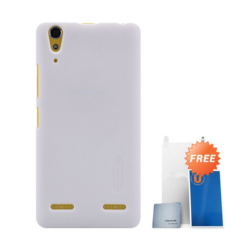 Nillkin Frosted White Hard Case Casing for Lenovo A6000 + Screen Protector + Pembersih Layar