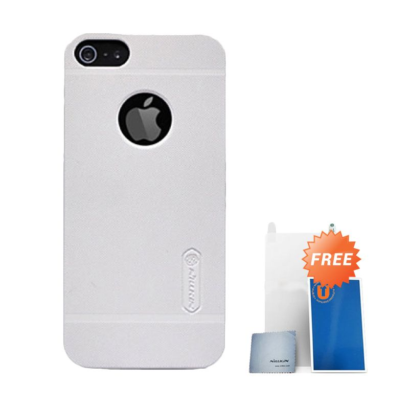 Nillkin Frosted White Hard Case Casing for iPhone 5 + Screen Protector + Pembersih Layar