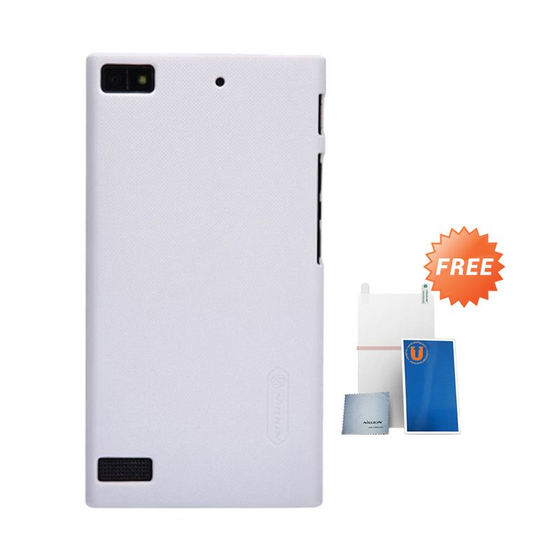 Nillkin Frosted White Hard Case Casing for Blackberry Z3 + Screen Protector