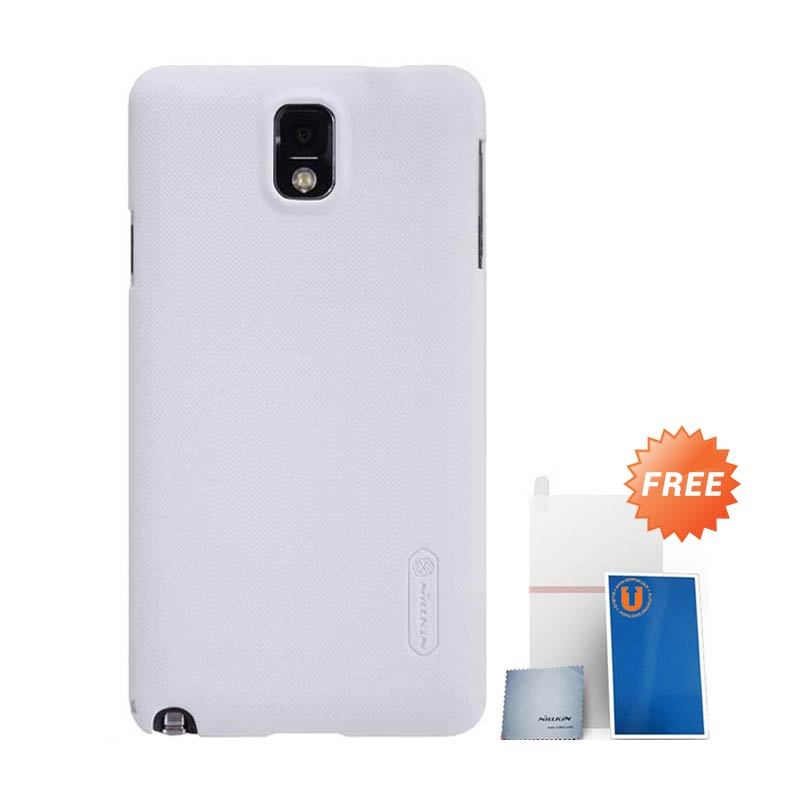 Nillkin Frosted White Hard Case Casing for Galaxy Note 3 + Screen Protector