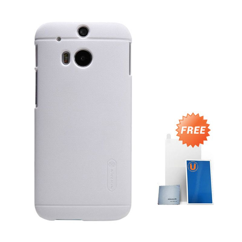 Nillkin Frosted White Hard Case Casing for HTC One M8 + Screen Protector