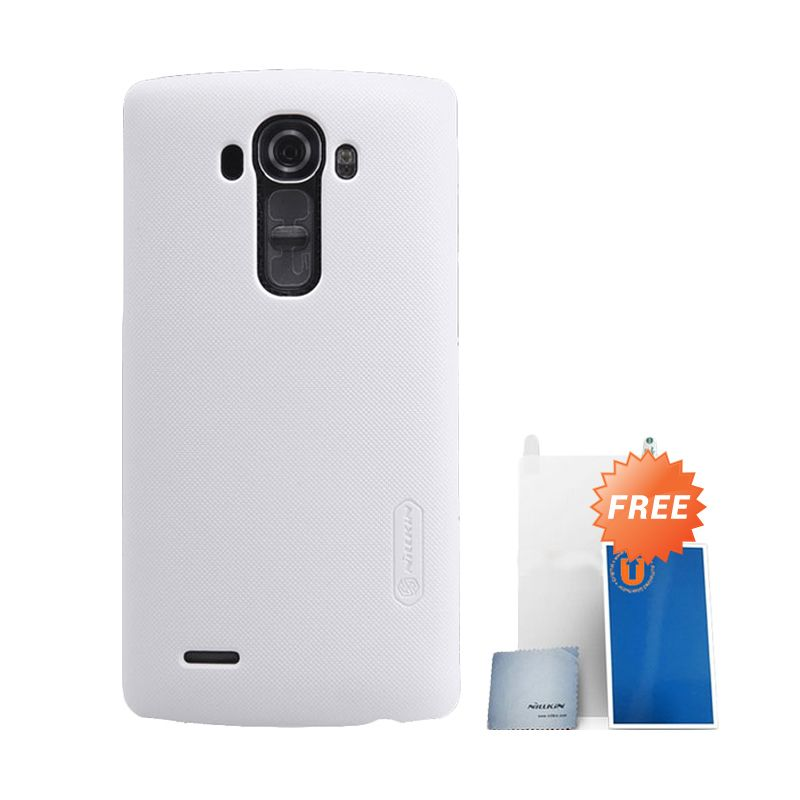 Nillkin Frosted White Hard Case Casing for LG G4 + Screen Protector + Pembersih Layar