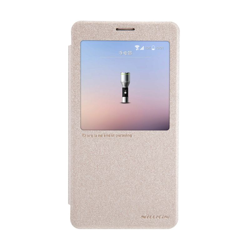 Nillkin Sparkle Window Flip Cover Gold Casing for Samsung Galaxy Note 4