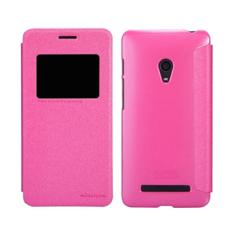 Nillkin Sparkle Window Flip Cover Rose Red Casing for Asus Zenfone 5