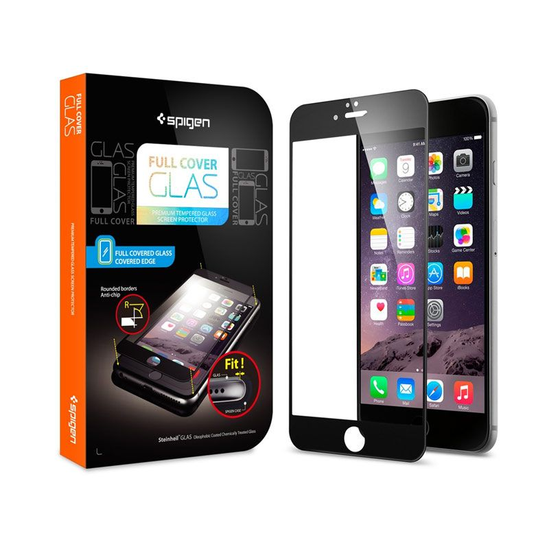 Spigen Tempered Full Cover Glass Black Screen Protector for iPhone 6 Plus