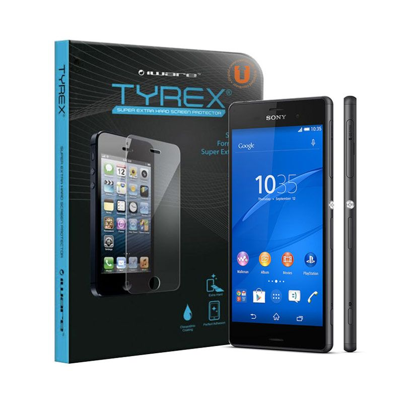 Tyrex Tempered Glass Screen Protector for Sony Xperia Z3 + Plastic Back Protector
