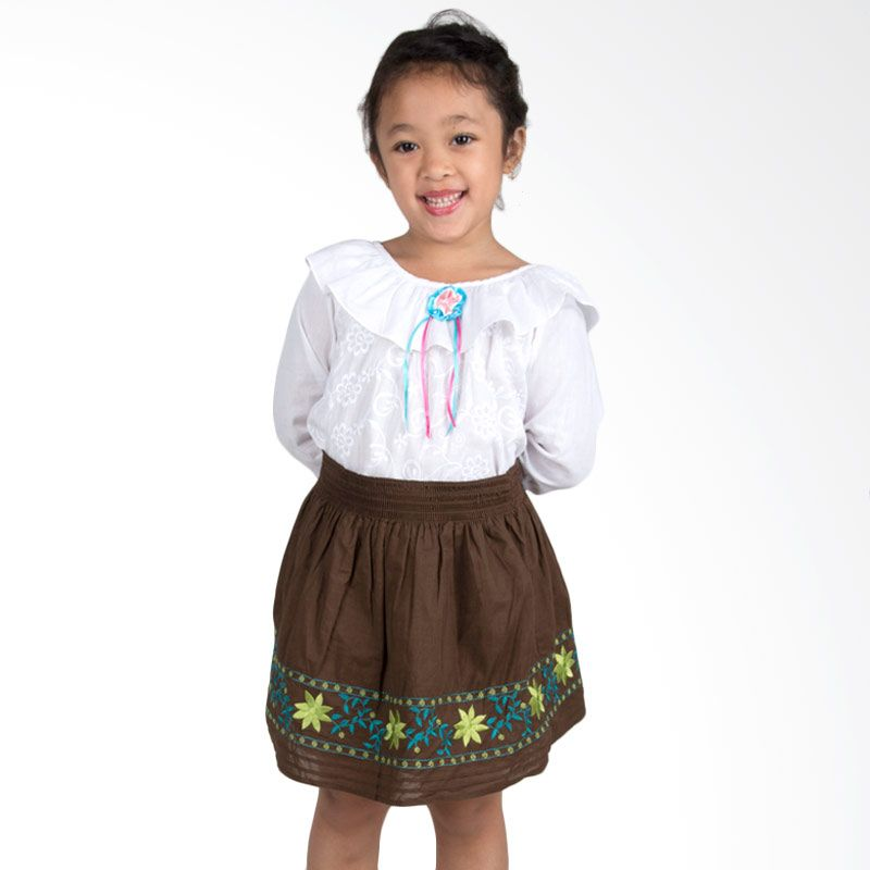 Vanessa And Cedreela Girl's Embroidered Brown Rok Anak