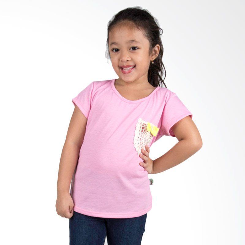 Vanessa And Cedreela Lace Pocket T-shirt Pink Atasan Anak Perempuan