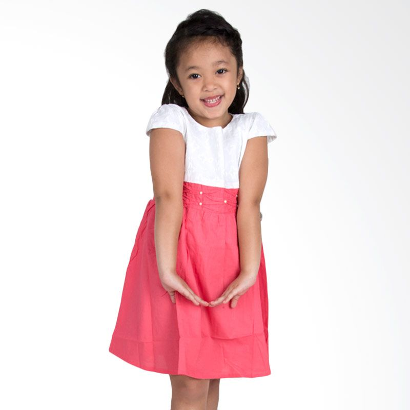 Vanessa And Cedreela Smocked with Pearl Beading White Fuschia Dress Anak