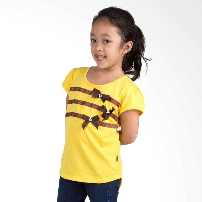 Vanessa And Cedreela Striped Ribbon T-shirt Yellow Atasan Anak Perempuan