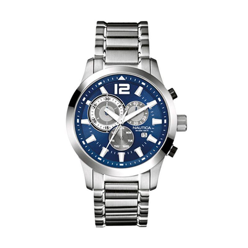 Nautica A17548G Silver Blue Jam Tangan Pria