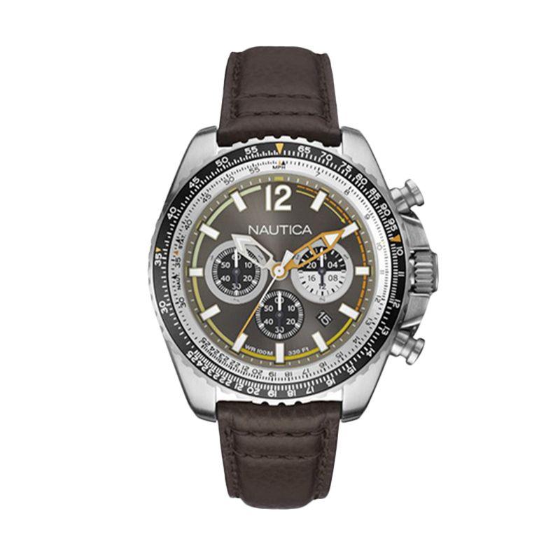 Nautica NAI22505G Silver Brown Jam Tangan Pria