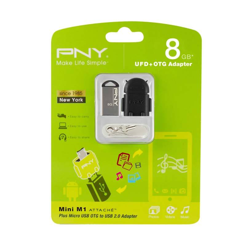 PNY USB2.0 Flash Disk Mini M1 8GB + OTG Adapter Robot Hitam