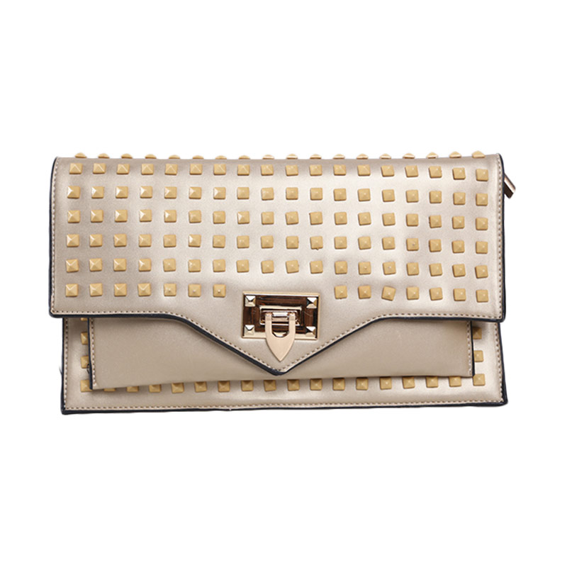 Verzoni 8013 Gold Half Studded Clutch Bag