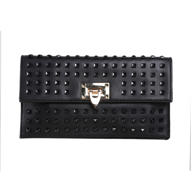 Verzoni 8015 Full Black Studded Clutch Bag
