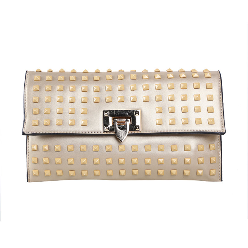Verzoni 8015 Gold Full Studded Clutch Bag