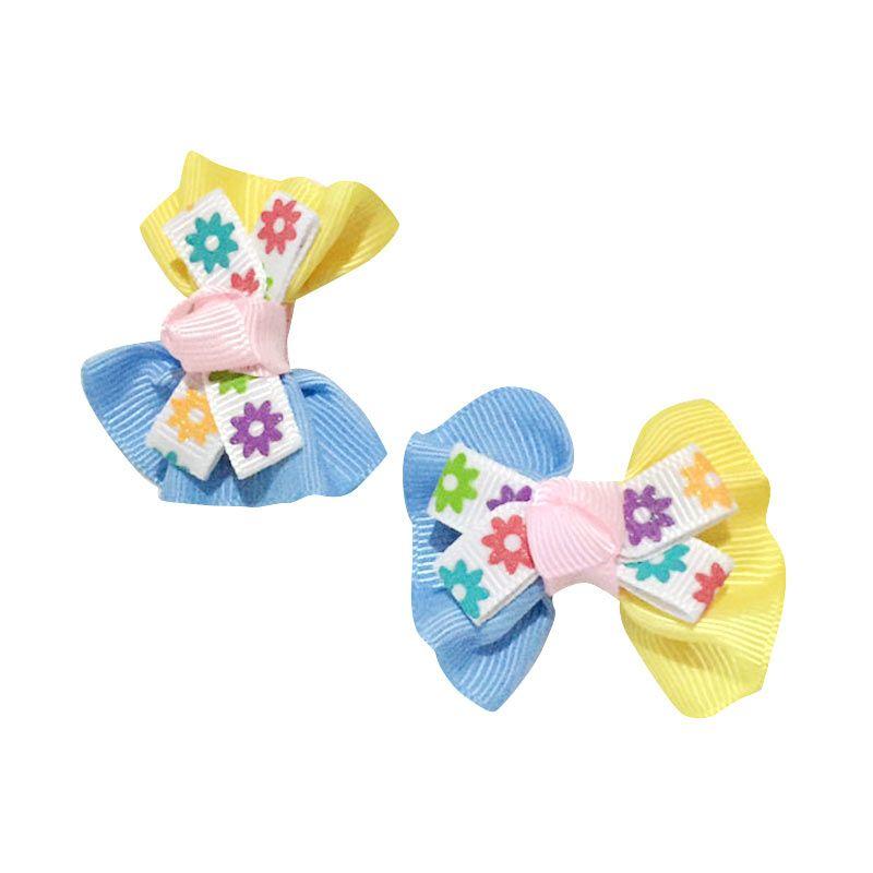 Visse Daisy Blue Yellow Hair Clip Jepit Rambut