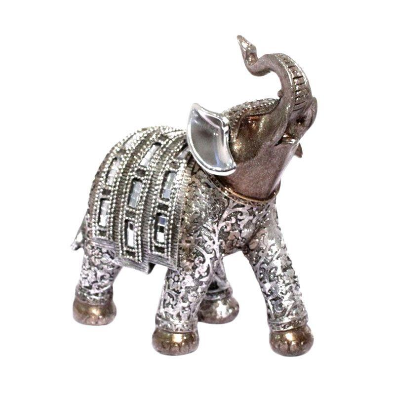 Vivere Object Deco Big Elephant Silver Room Decoration [18 x 7 cm]