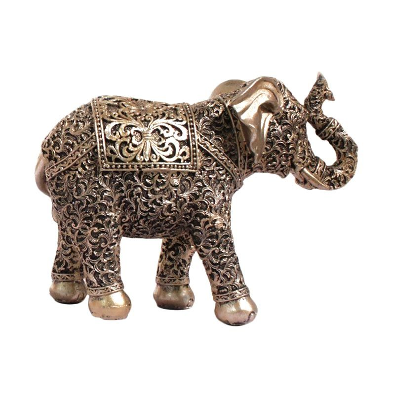 VIVERE Object Deco Single Elephant Gold Room Decoration [22 x 8 cm]