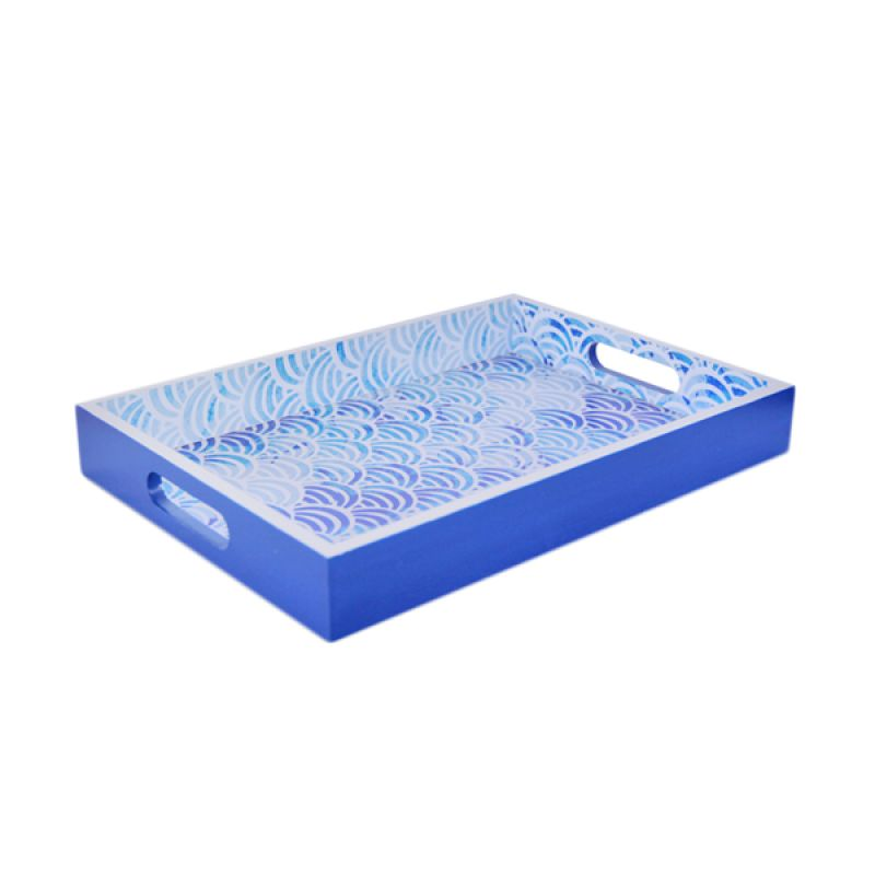 VIVERE Seikaiha Pattern Blue Tray [35 x 25 cm]