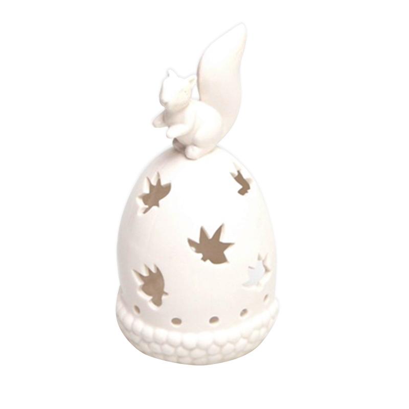 harga VIVERE Tea Light Candle Holder Squirrel Tempat Lilin - White [9.8x10x19.8 cm] Blibli.com