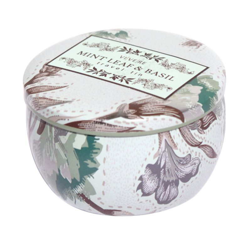 VIVERE Votive Mint Basil Travel Tin Lilin [8 x 5 cm]