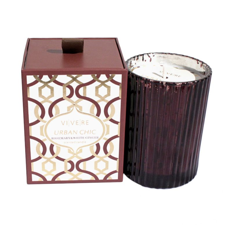 VIVERE Votive Rosemary Ribbed Brown Lilin [8 x 10 cm]