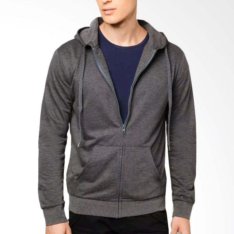 VM Hoodie Full Sleting Dark Grey Jaket Polos Pria