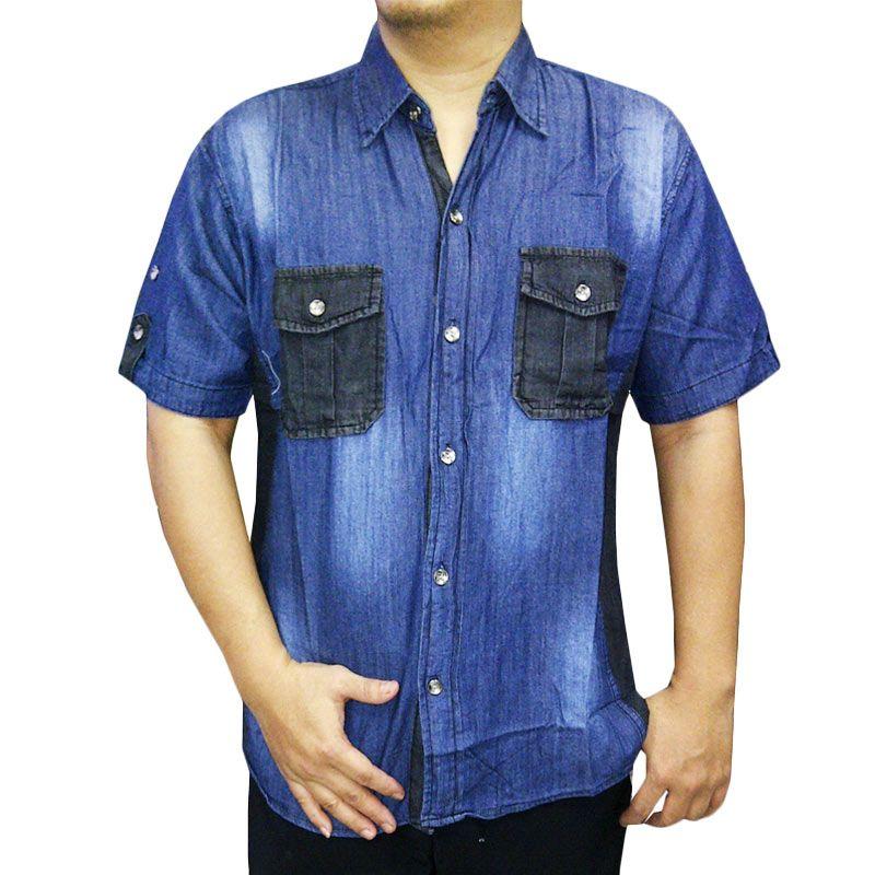 VM KML 472 Denim Soft Jeans Biru Kemeja Pria