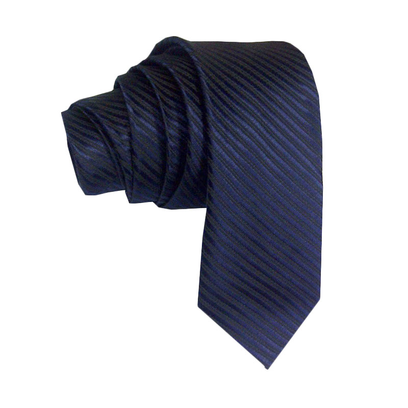 Dasi polos motif garis slim 2 inch biru tua - navy blue