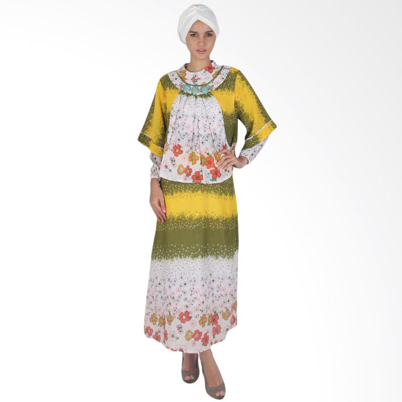 Vstyle Muslim Dress with Stone Yellow J019