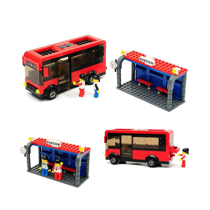 Wange Bricks 30132 City Bus Mainan Blok & Puzzle - Red