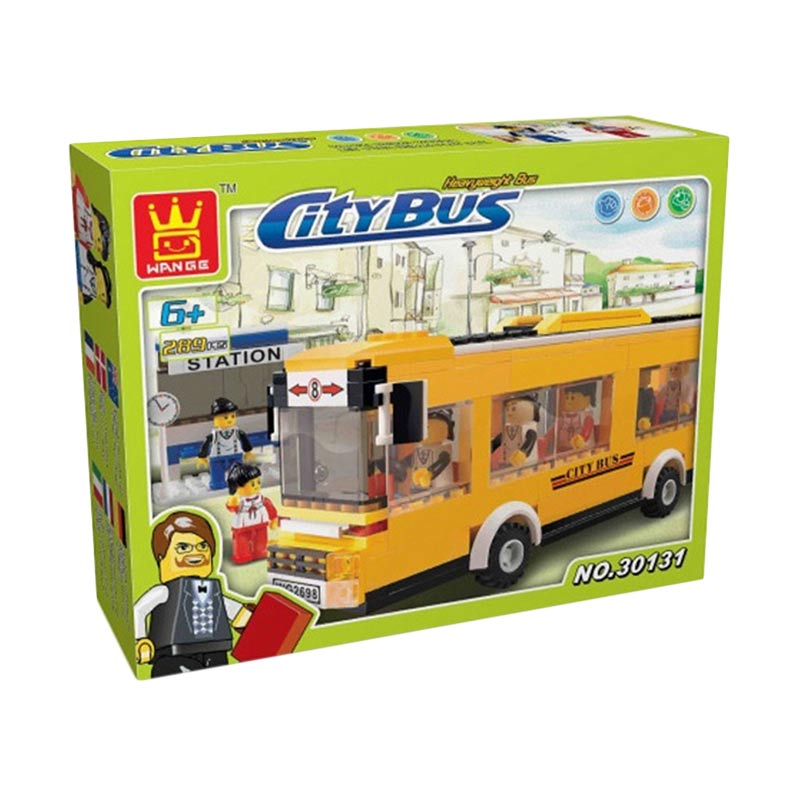 Wange Bricks 30131 City Bus Mainan Blok & Puzzle - Yellow