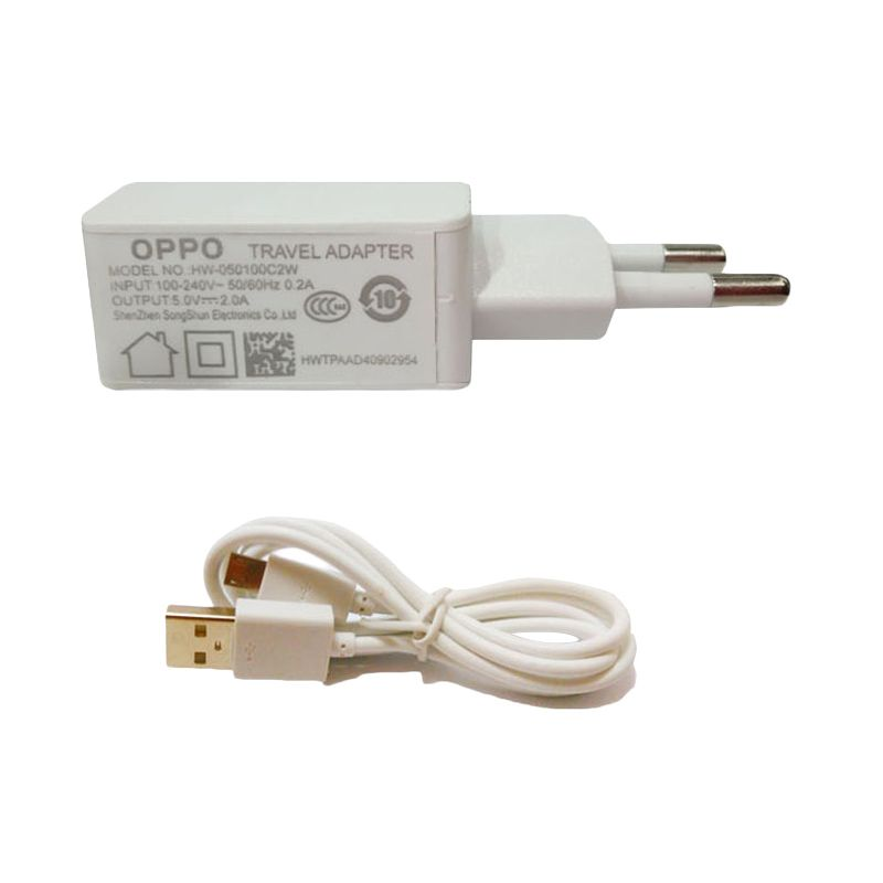 Oppo USB Putih Travel Charger + Cable Micro USB