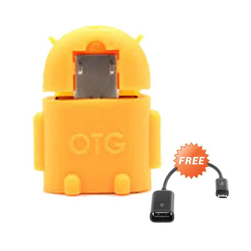 OTG Android Robot Orange USB Adapter + Cable Connect Kit