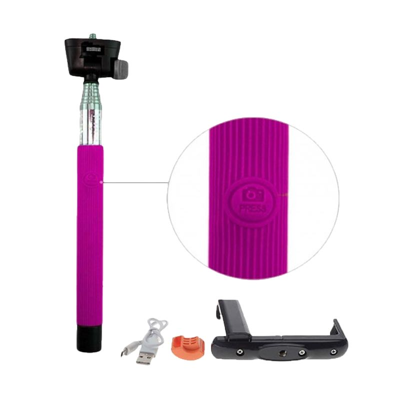 PRO Bluetooth Camera Tongsis dan Holder Big L Pink