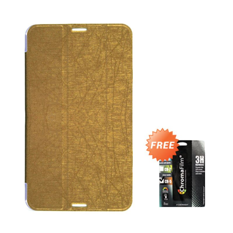 Transcover Book Cover Gold Casing for Asus Fonepad 7 FE170CG + Screen Protector