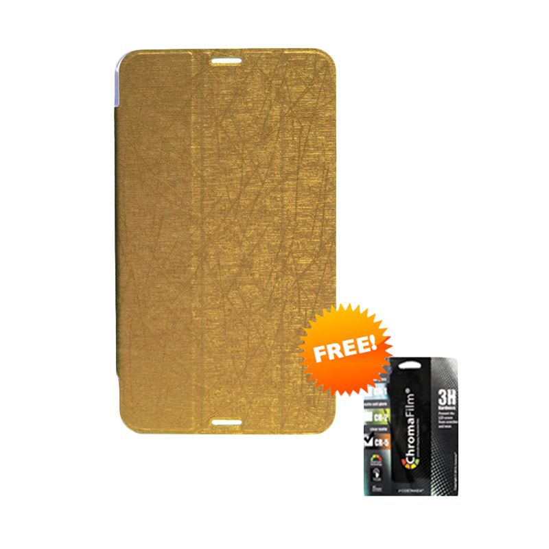 Transcover Book Cover Gold Casing for Asus Fonepad 8 FE380CG + Screen Protector